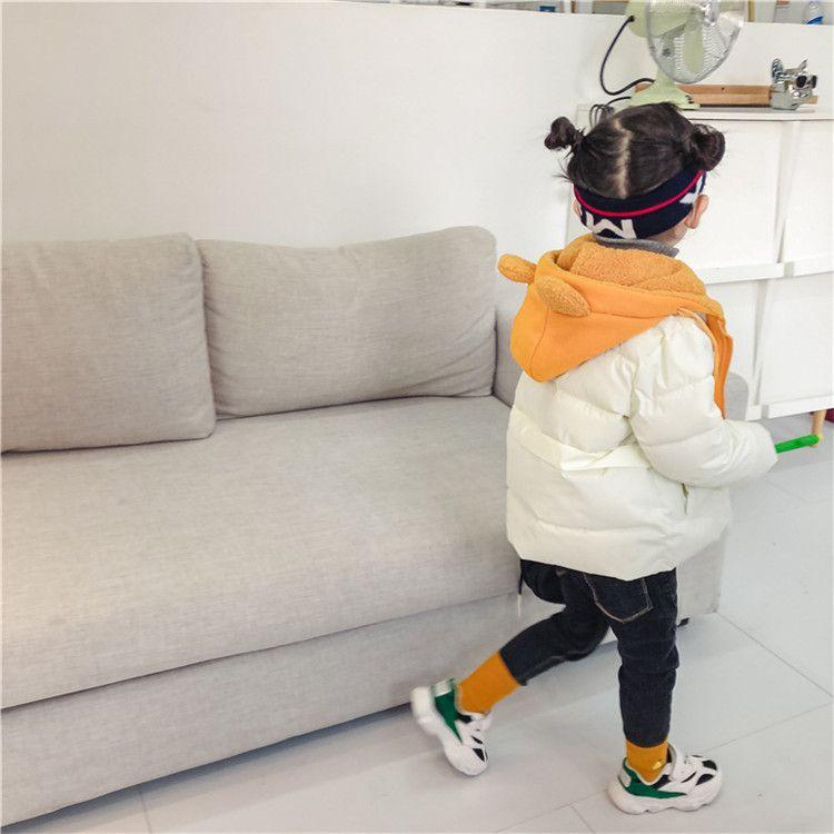 女童棉衣2018冬季新款韩版儿童假两件连帽手塞棉洋气外套宝宝棉袄