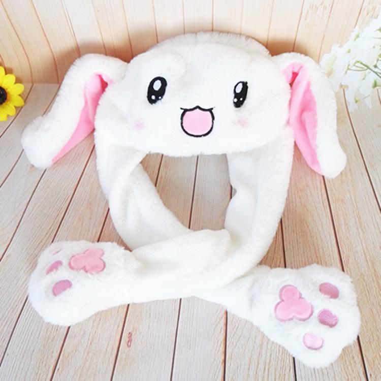 抖音同款毛绒玩具一捏气囊耳朵会动的兔耳朵帽子可爱礼物一件代发