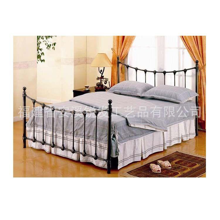 欧式铁艺卧室双人床 田园风格 时尚方形双人床双人床批发