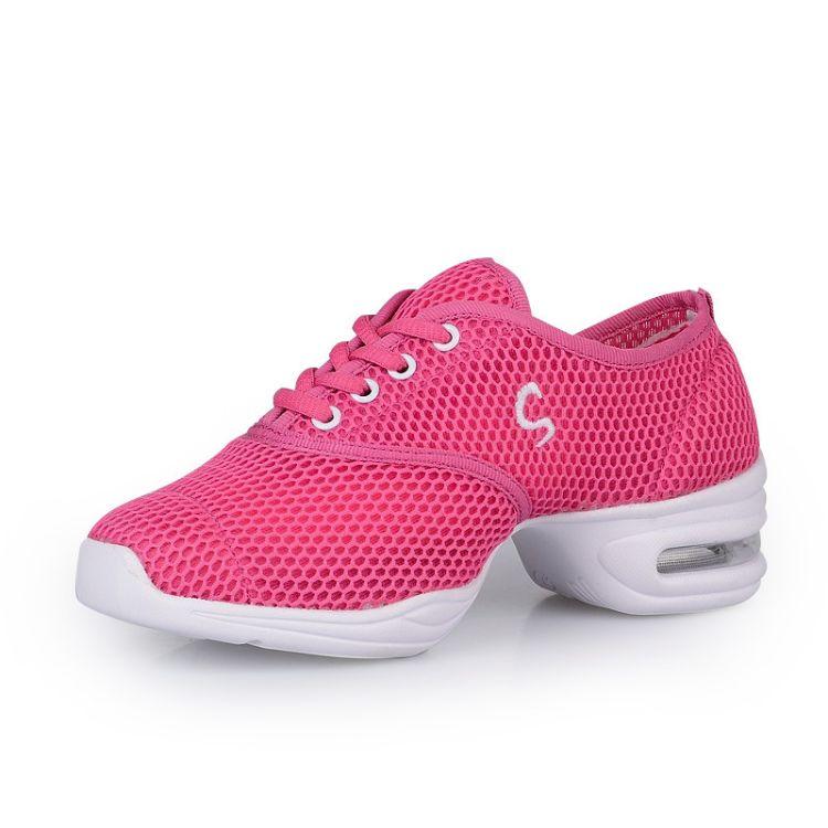 白色夏季广场舞鞋儿童舞蹈鞋软底女童网面健身现代爵士跳舞鞋801