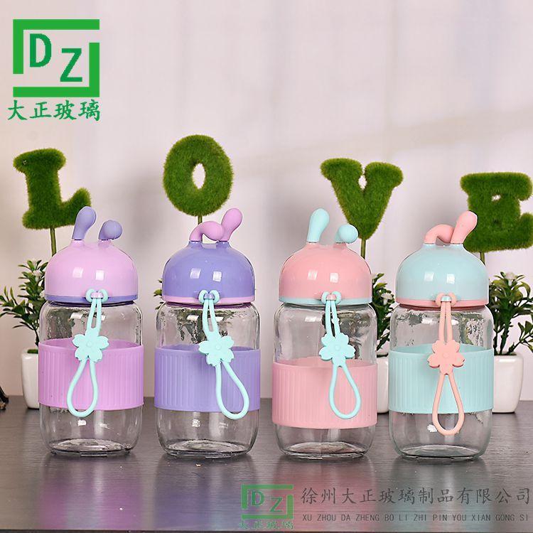 厂家直销创意韩版外星人玻璃水杯小耳朵条纹硅胶套水杯 硅胶提手