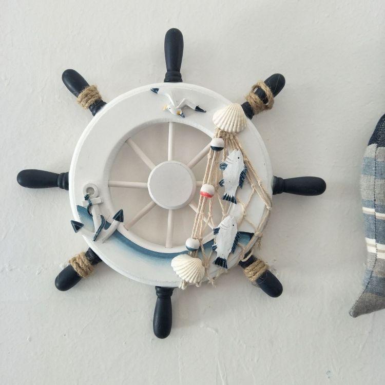 23公分地中海风格船舵 家居装饰船舵摆件 做旧木质工艺品船舵墙面