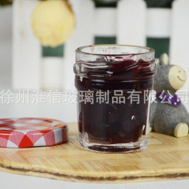 新款高档多棱玻璃喜蜜瓶50ml 果酱瓶 燕窝瓶婚庆用蜂蜜瓶含盖批发