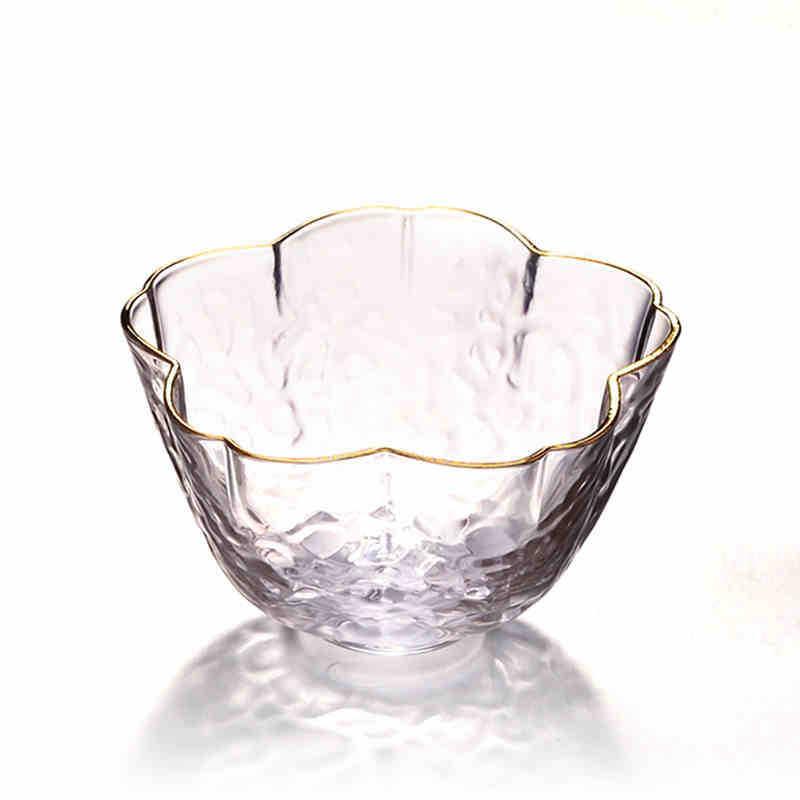 厂家批发樱花杯玻璃锤纹茶杯描金玻璃杯樱花玻璃金边品茗杯女式