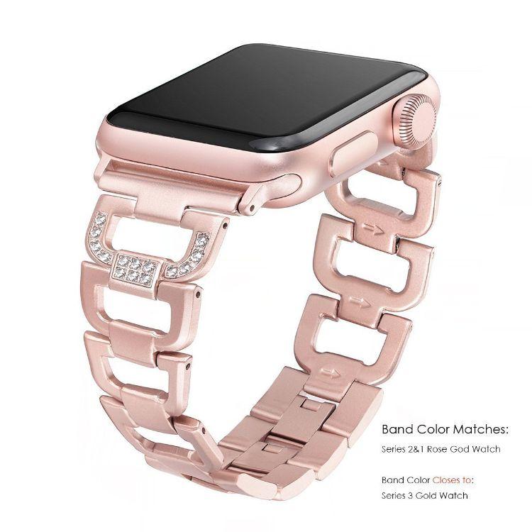 新款適用于蘋果手表表帶iWatch4金屬表帶D扣鑲鉆合金手鐲表帶工廠