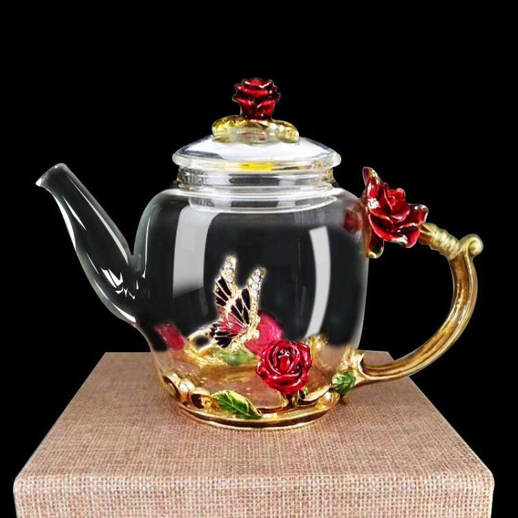 现货供应 珐琅壶 玻璃茶壶 耐热玻璃过滤花茶水壶高档礼物