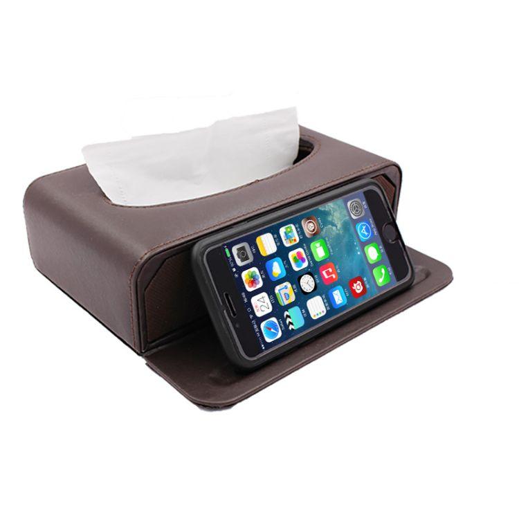 创意车载纸巾盒 车用皮质抽纸盒 多功能纸抽盒 定制批发