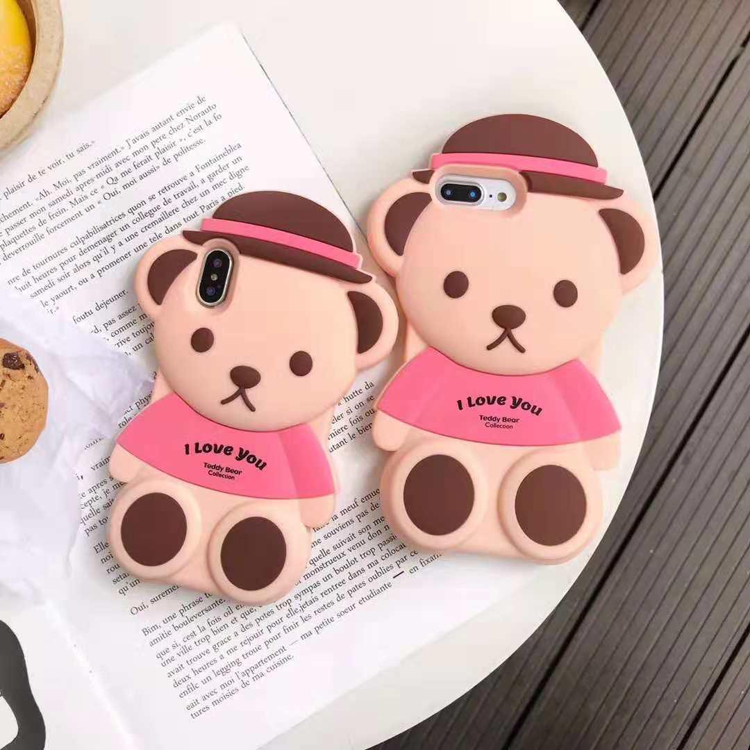 Ip Xsmax泰迪熊硅胶手机套6P7P 可爱草帽小熊 Teddy Bear