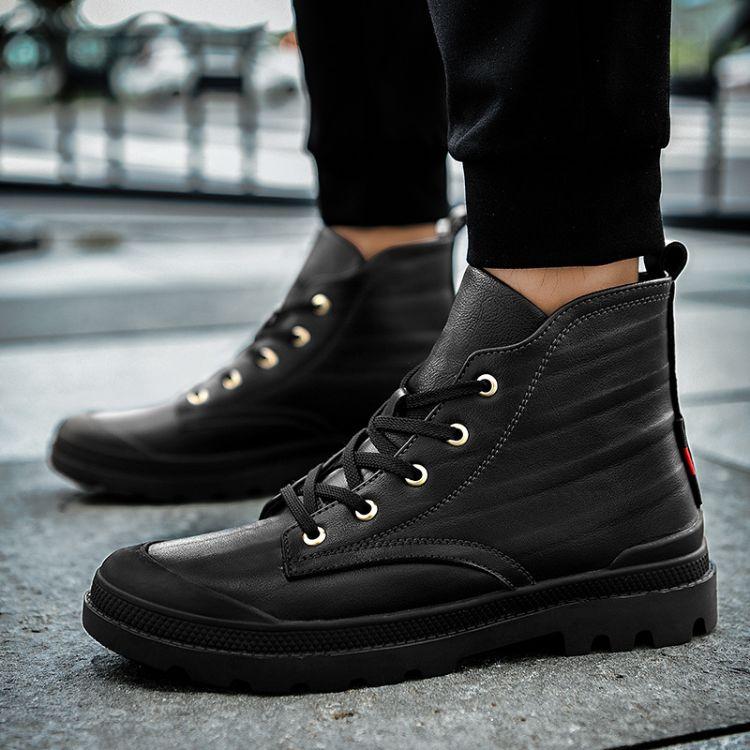 冬季男鞋头层牛皮马丁靴靴子男中帮工装韩版厚底高帮军靴潮棉鞋子