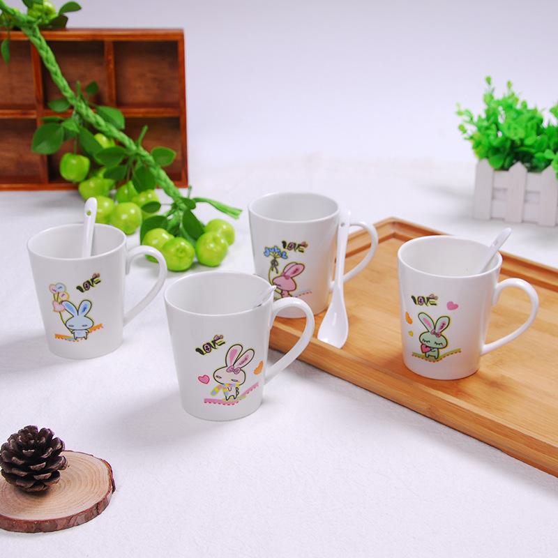 可爱陶瓷杯批发 萌兔马克杯 情侣咖啡水杯陶瓷牛奶杯 logo定制