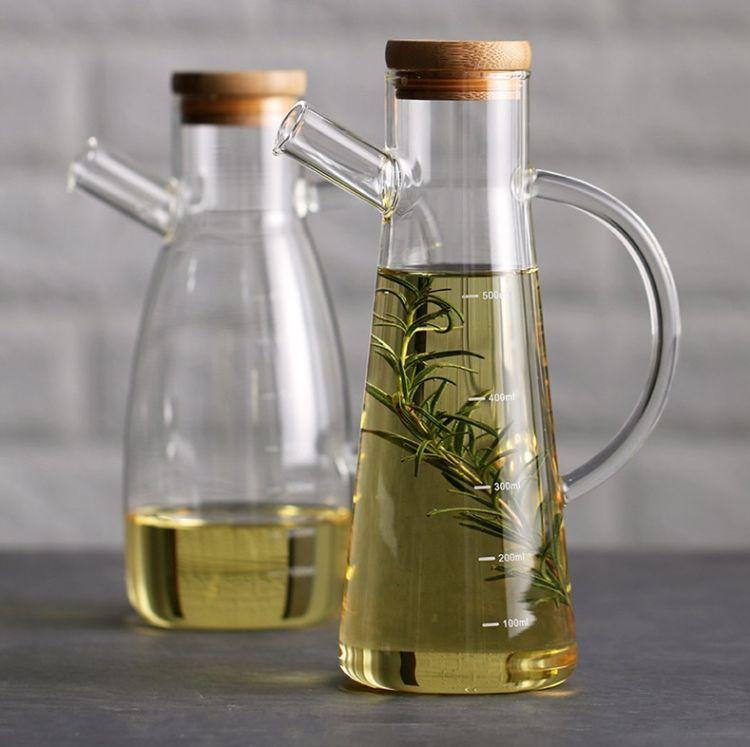 玻璃油壶高硼硅厨房调料瓶玻璃瓶耐高温玻璃醋瓶硅胶盖防漏调味瓶