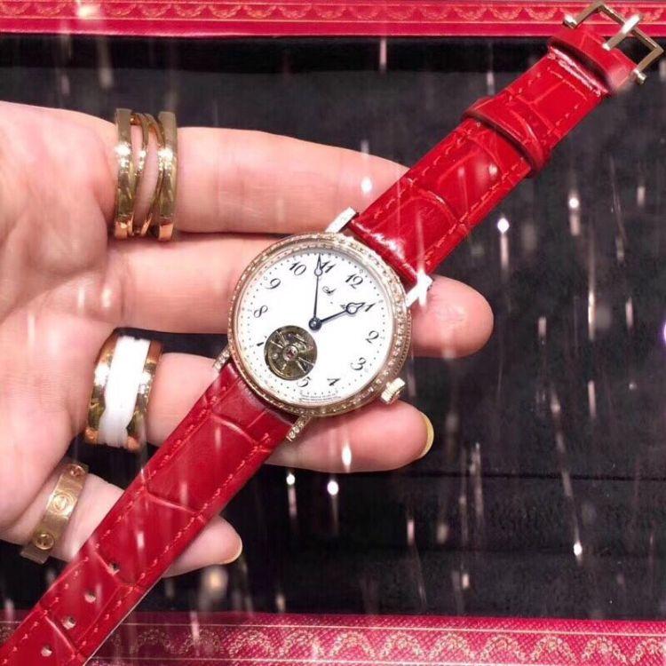 手表廠家直銷-熱賣爆款陀飛輪皮帶機械女表 可一件代發