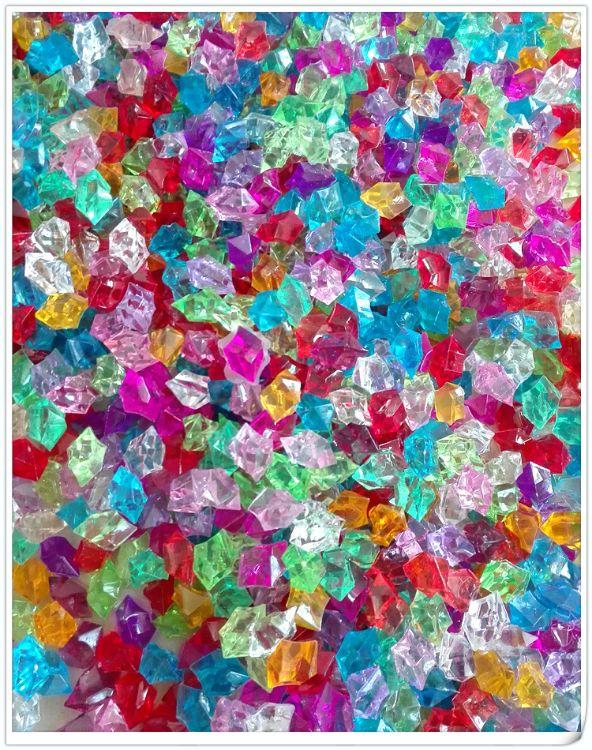 批发菱形亚克力水晶石塑料彩色石头鱼缸装饰冰块透明水晶石头散批