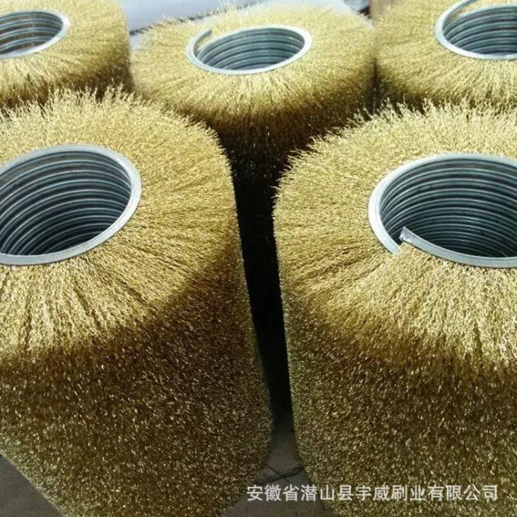 镀铜钢丝弹簧刷辊来图定做 外绕除锈弹簧毛刷 螺旋弹簧工业弹簧刷