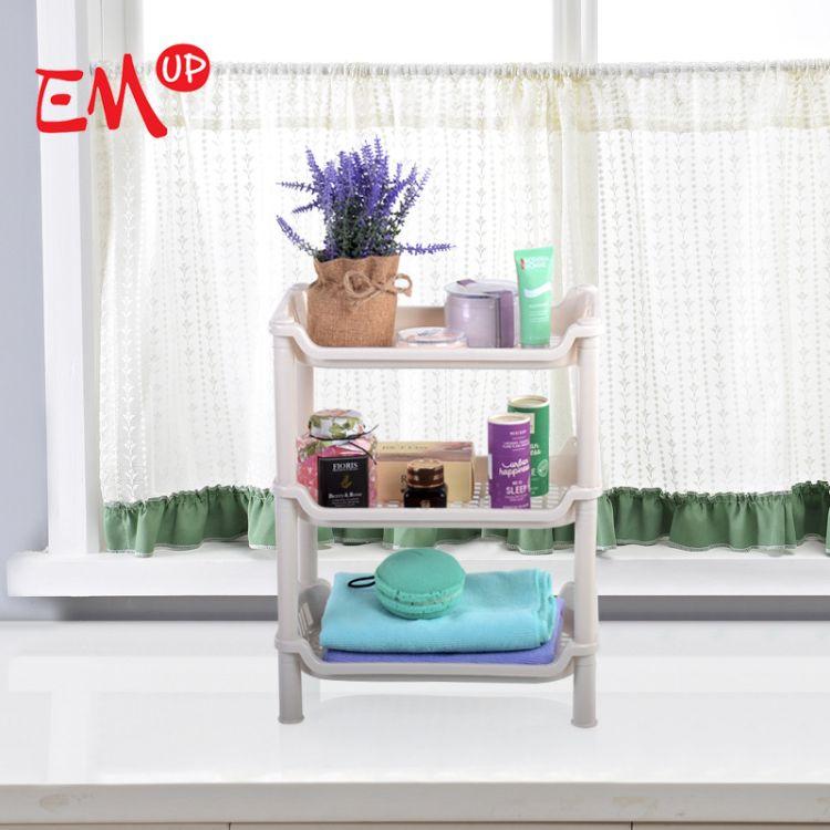 卫浴三层方形置物架 塑料收纳层架 三层储物架 落地三角架 EMUP