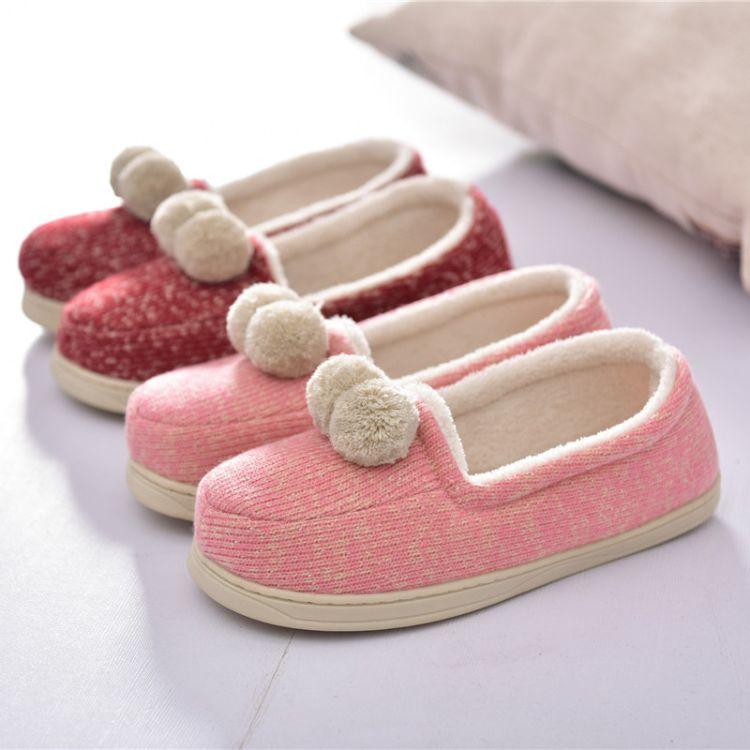 2017款秋冬产妇 坐月子鞋 包跟可爱毛球软底棉鞋防滑孕妇棉拖鞋