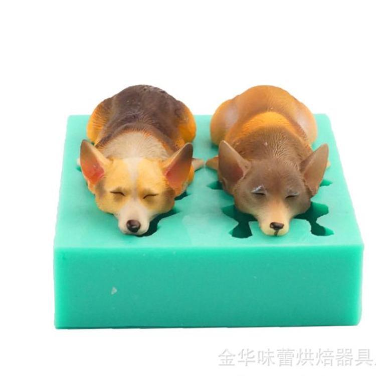 柯基宠物狗狗巧克力烘焙diy模 柯基犬翻糖蛋糕硅胶模狗狗烘焙工具