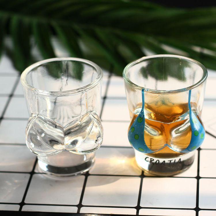 创意个性小酒杯玻璃白酒杯大胸杯酒杯烈酒杯比基尼女体杯玻璃杯