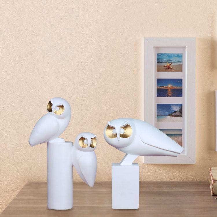 新中式家居装饰品软装工艺品电视柜桌面北欧创意树脂摆件猫头鹰