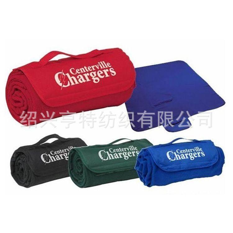 多功能野餐垫 带盖旅行垫 织带方便手提赠品毛毯毯子 logo毯