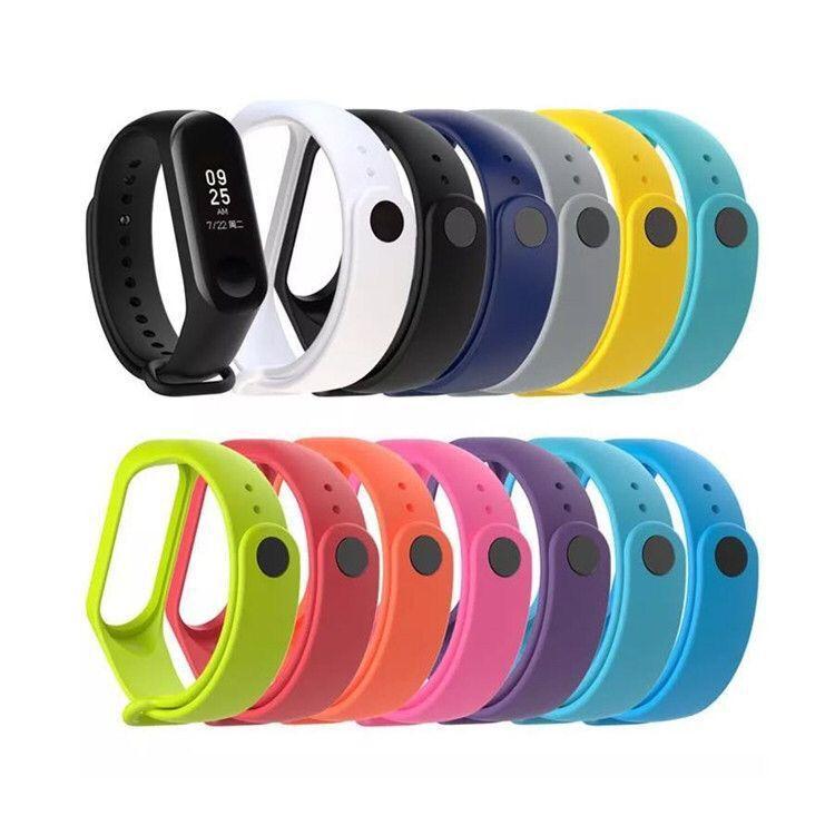 适用于小米手环3表带硅胶材质环保TPU智能手环单色手环带腕带3代
