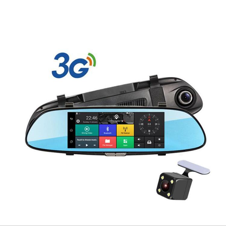 7寸3G安卓导航后视镜行车记录仪 高清前后双录 Car DVR 蓝牙4.0