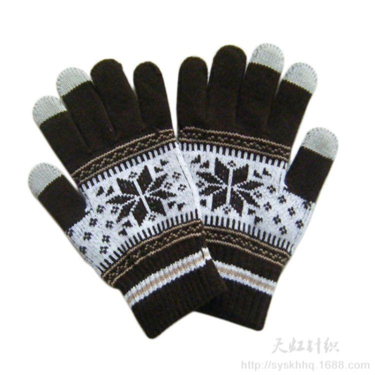 2017工厂新款7针提花手套 提花三指触屏手套 来样个性定做手套