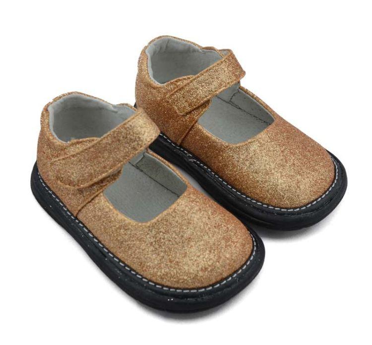 新款金色女童鞋 晚礼鞋 闪光儿童皮鞋 女童礼鞋 亮光女童单鞋