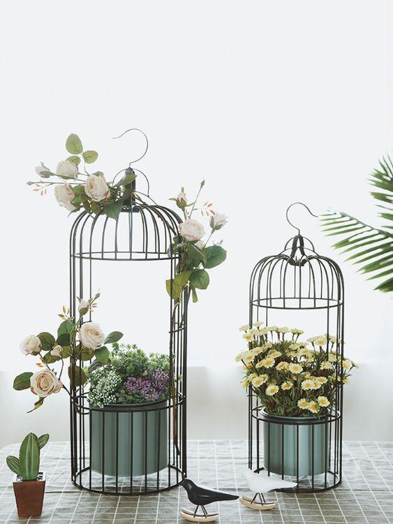 装饰摆件北家居创意铁艺吊挂花盆鸟笼欧式室内外仿真花插花绿植花