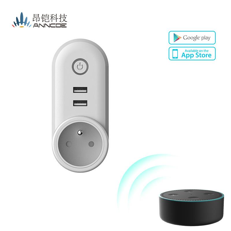 Wifi电源插头插座无线遥控智能家庭自动化智能Wifi插座支持alexa