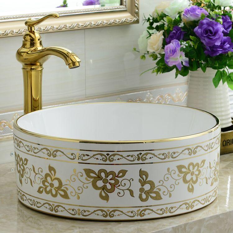 若水台上盆薄边洗脸盆 欧式金色彩绘厕所 艺术面盆 新品