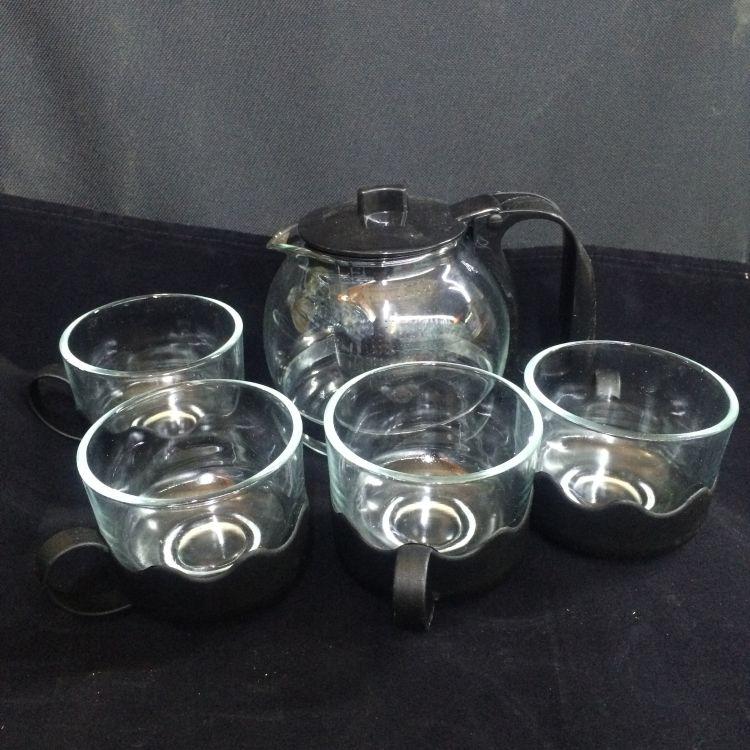 水兰香玻璃泡茶水壶5只装玻璃水具耐热礼盒玻璃功夫茶具套装