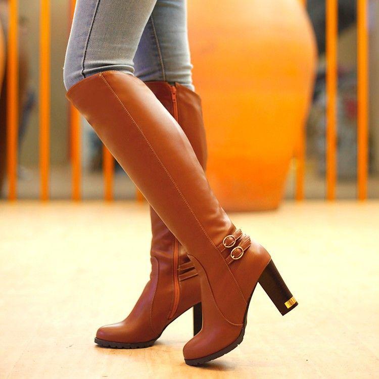 外贸爆款高跟粗跟女靴防水台侧拉链女鞋高筒靴厂家直销招代理