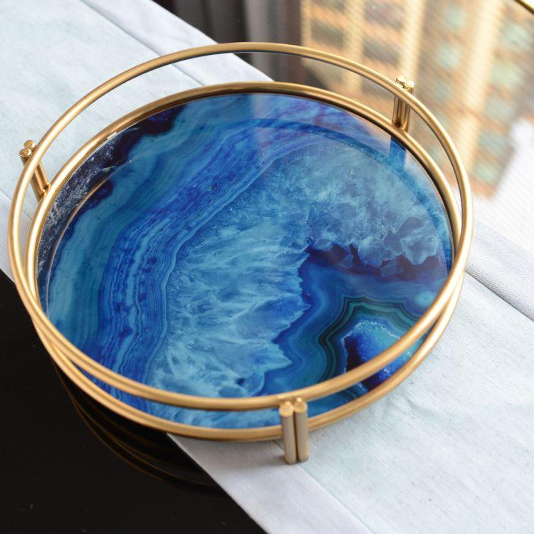 轻奢风格蓝色玛瑙玻璃茶几收纳圆盘样板房摆件装饰托盘