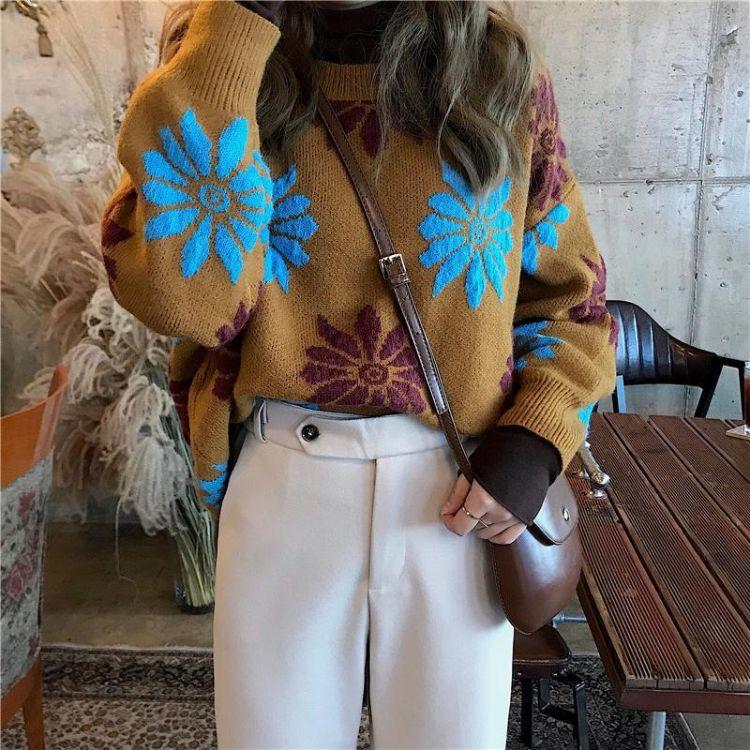 实拍 大花朵提花套头长袖毛衣 2色