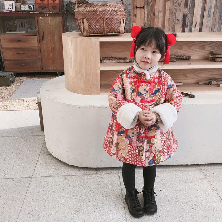 小童马冬款童装  加厚旗袍新年唐装拜年服连衣裙8622