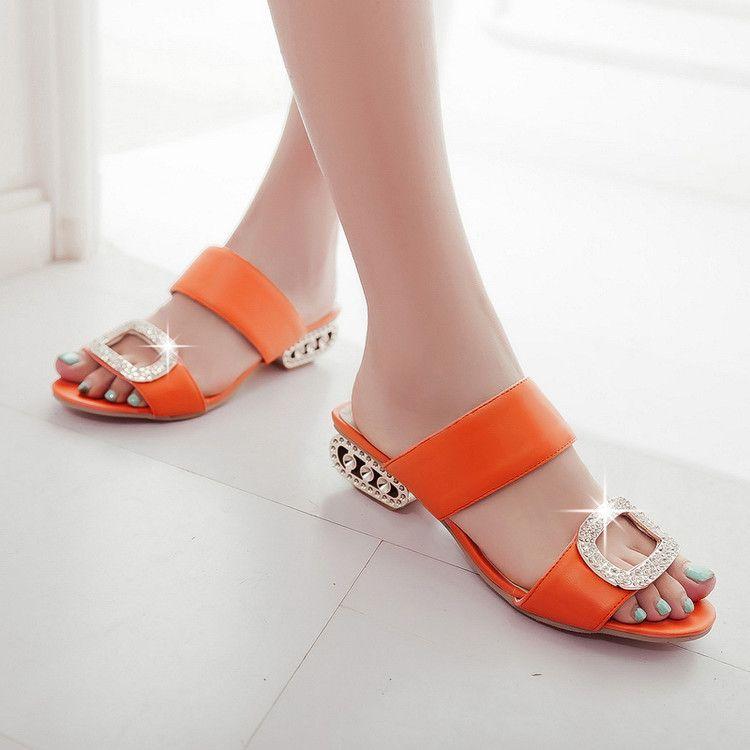 夏季新款时尚凉拖鞋方根水钻桔色女鞋定做大码批发外贸代理
