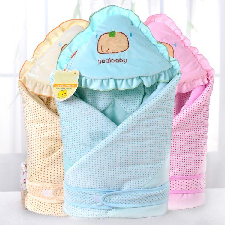 舒适保暖猫咪婴幼婴乐绒抱被水晶绒宝宝睡袋绣花防踢被 厂家直销