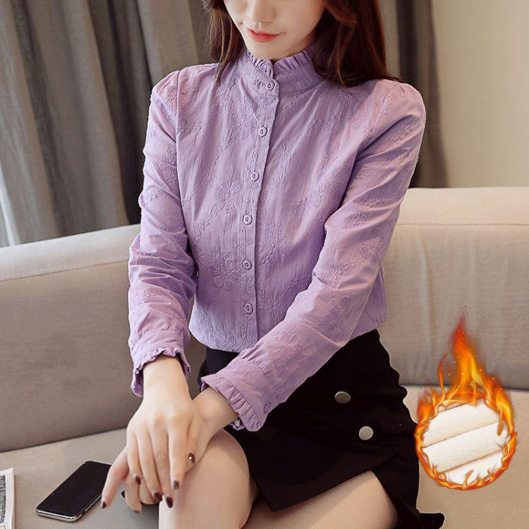 雪纺衫韩版女装2018新款韩版加绒上衣服秋季长袖女士打底衫衬衣