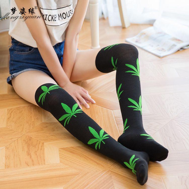 枫叶长筒袜 麻叶运动袜枫叶长筒过膝袜热销地摊袜子针织过膝袜