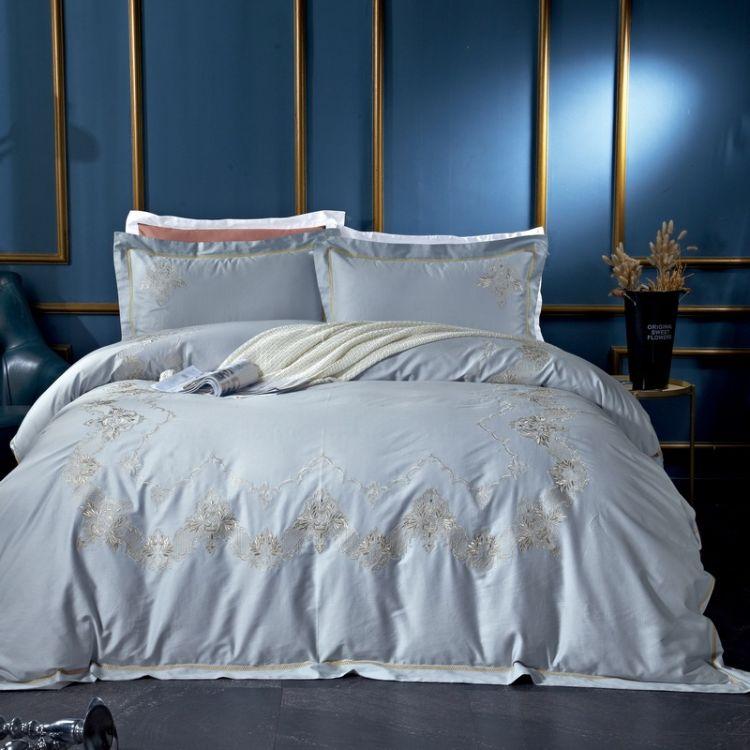 全棉活性纯色欧式贡缎长绒棉提花刺绣四件套纯棉床上用品四件套