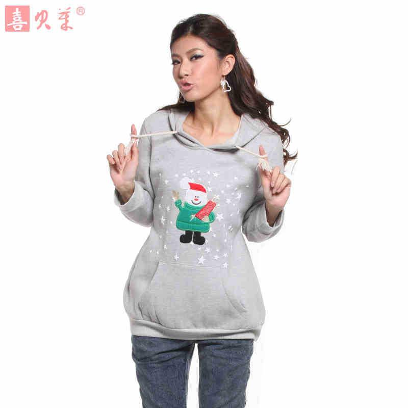 孕妇装春装韩版孕妇卫衣中长款长袖孕妇上衣加绒带帽秋冬孕妇外套
