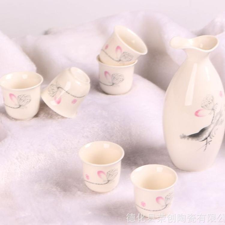 供应陶瓷酒具日式酒具套装陶瓷酒具高档美人壶白酒 定制LOGO