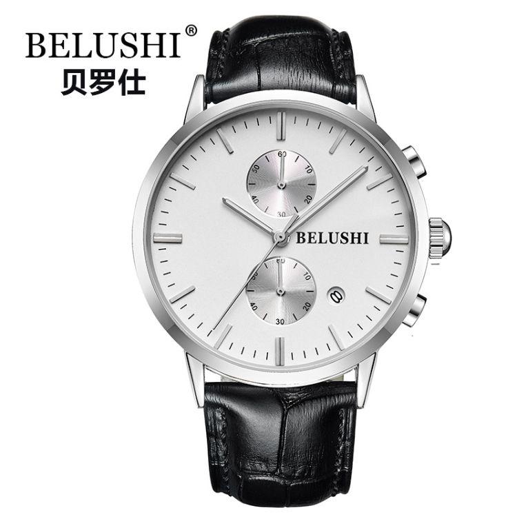 贝罗仕BELUSHI多功能日历真皮带夜光男士手表 商务休闲时尚潮流