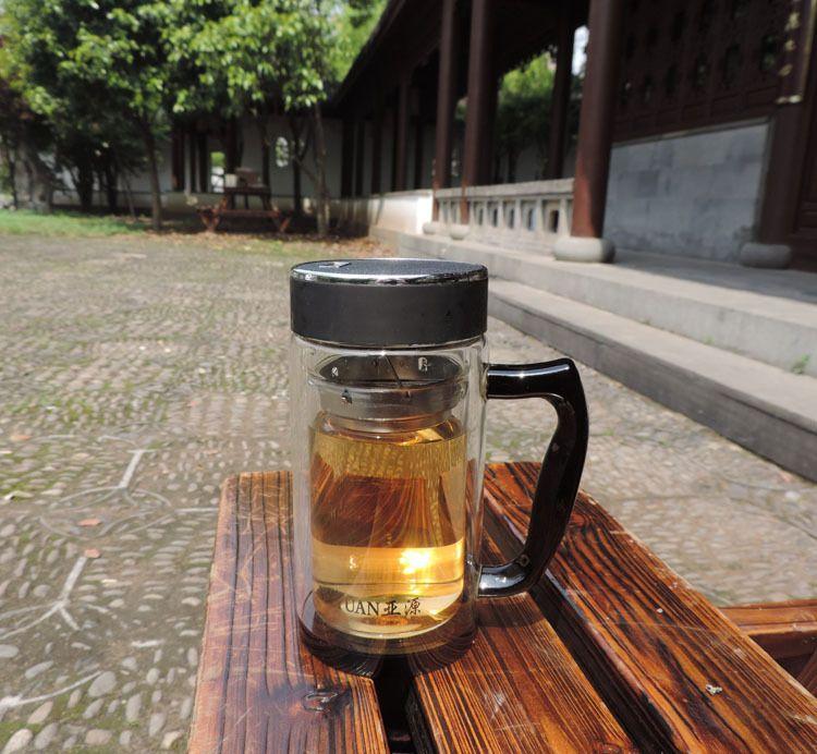 厂家直销新款厚底水晶玻璃杯子 办公室双层玻璃茶水杯黑金刚水晶