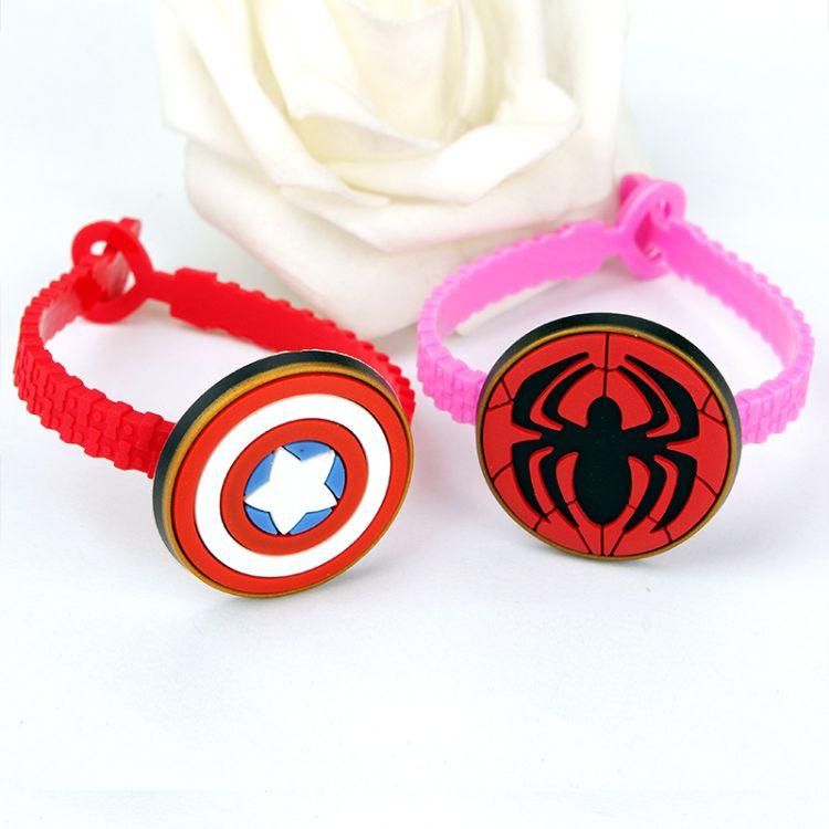 硅胶手环复仇者联盟标志手腕带创意卡通手带美国队长钢铁侠手链