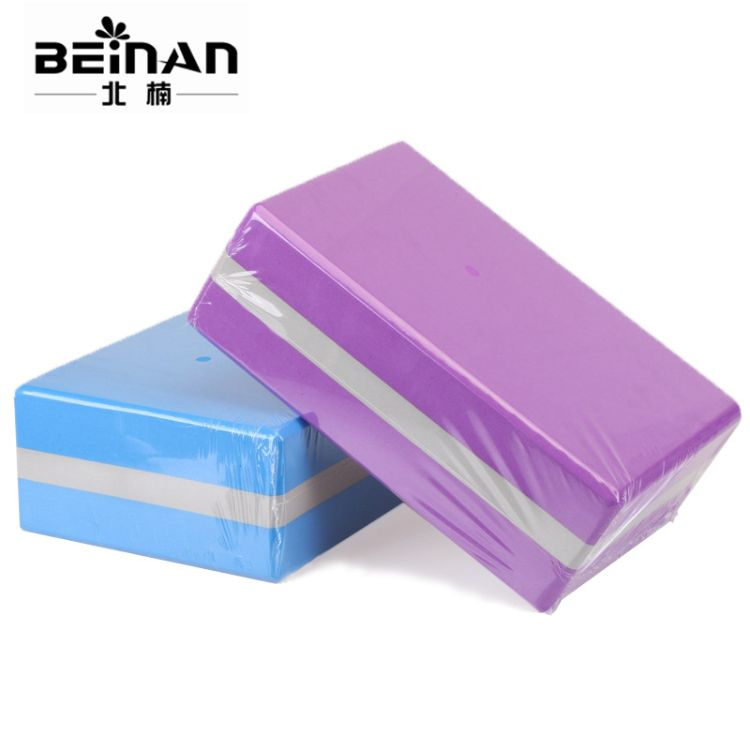 供应eva瑜伽砖 双色高密度抗压防滑瑜伽砖定制环保无味瑜伽块便携