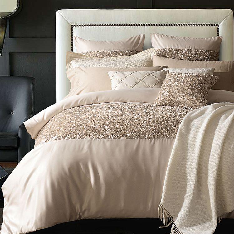 美式四件套奢华床上用品 欧式展厅样板房别墅纯色床品多件套