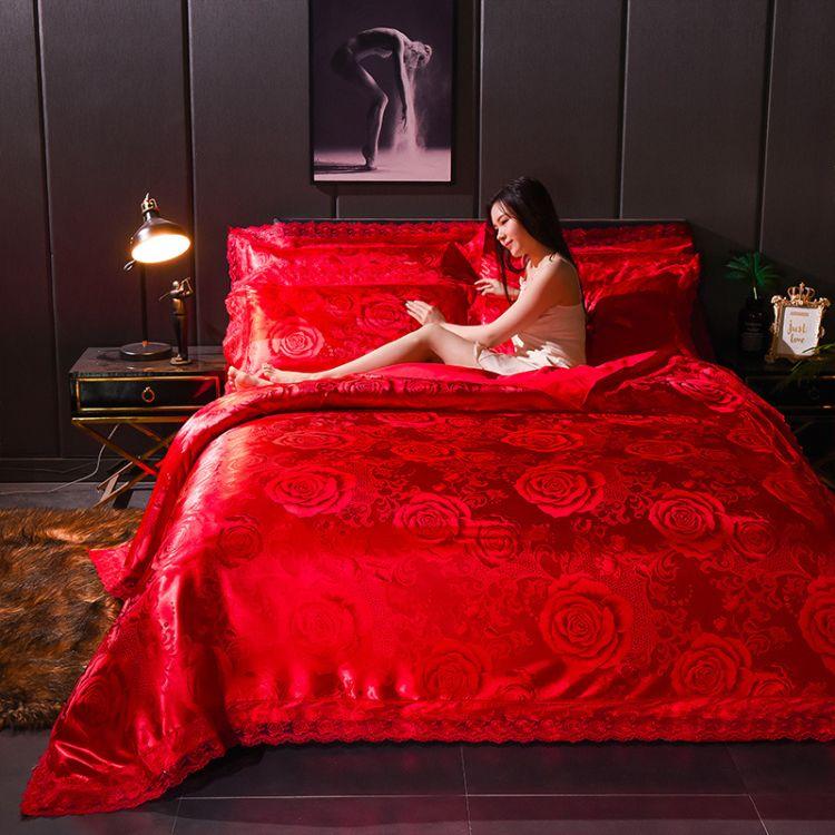 厂家直销欧式奢华高端蕾丝提花四件套刺绣贡缎四件套  床上用品
