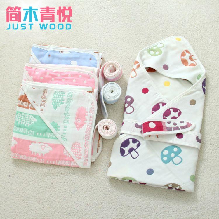 90*90纯棉6六层纱布抱被厂家直销一件代发纯棉新生婴幼儿纱布抱被